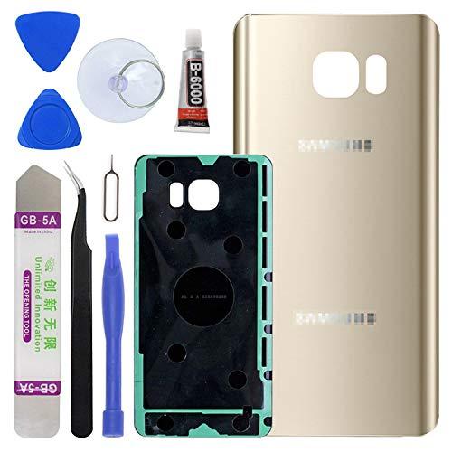 LUVSS Ersatz-Rückabdeckung für Samsung Galaxy Note 5 N920 (alle Träger), mit Öffnungswerkzeug-Set (Gold)