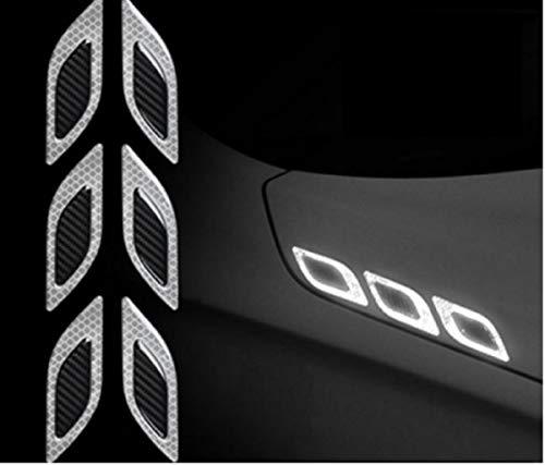 TRUE LINE Automotive Carbon Fiber Reflective Door Fender Flare Marker Trim Molding 6PC (Outer Silver)