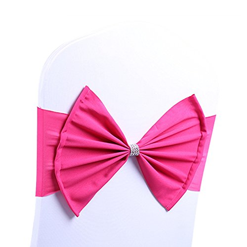 ARKSU Chair Sash Band with Bow Ties Elastic Spandex Cover for Wedding Decor (10 Packs,hot Pink)