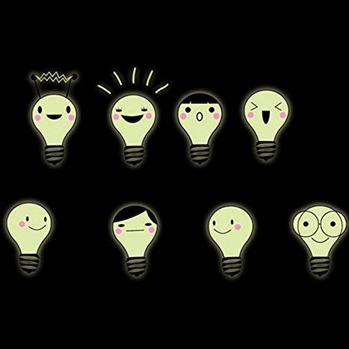 SHINA Lot de 8pcs Sticker Mural Creatif Phosphorescentes Autocollants Fluorescente Motif Ampoules Mignons Decor de Chambre d'enfant