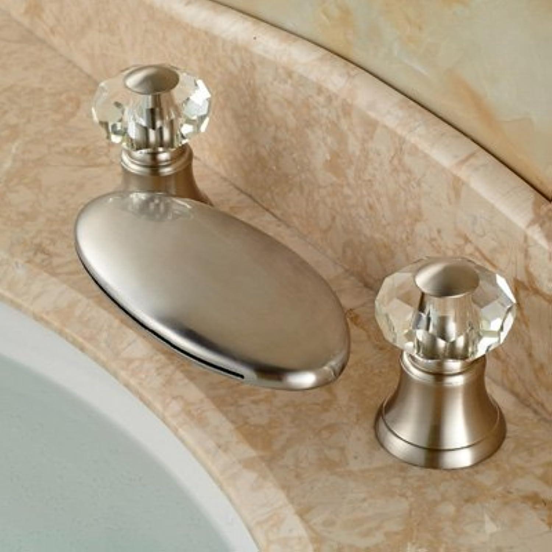 Retro Deluxe Fauceting Nickel gebürstet Wasserfall Auswurfkrümmer Badezimmer Waschbecken Armatur Crystal Griffe Mischbatterie mehrere Arten, gebürstet 11 Tippen Sie auf