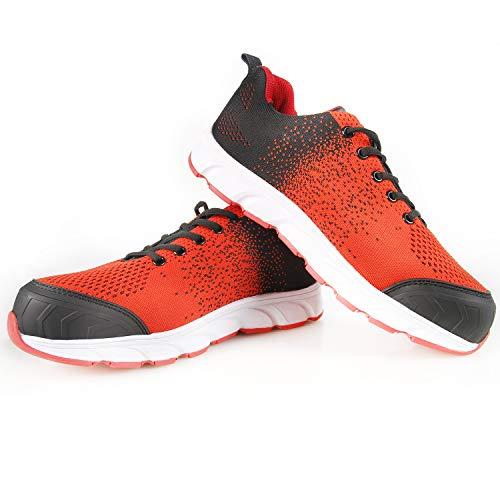 CCLIFE Sicherheitsschuhe S3 Herren Damen Arbeitsschuhe Schutzschuhe Wasserdicht Leder Stahlkappe Leichtgewicht rutschfeste Schuhe, Größe:43 EU, Farbe:004 Rot&Schwarz