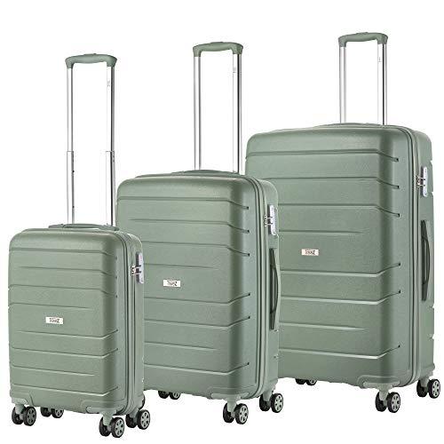 TravelZ Big Bars Kofferset - 3-teiliges Trolley-Set - Hartschalenkoffer mit TSA-Schloss - sicher und stabil - Grün XXL