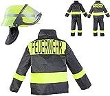 Nerd Clear Feuerwehr Kostüm Set für Kinder | 3-teilig: Helm, Jacke, Hose | ideal für Karneval & Fasching | Jungen & Mädchen |: Größe: 104-110