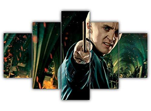 KOPASD 5 Pezzi Stampati Draco Malfoy Tela Pittura per Soggiorno Complementi Arredo Casa Parete Arte Poster su Tela (Senza Cornice) HL Size: 60 inch X32 inch