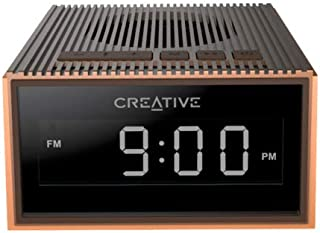 Creative 51MF8280AA001 Chrono Portable Splash-Proof Bluetooth Speaker with FM Radio, Alarm Clock, Micro Sd Slot - Brown (Pack of 1)
