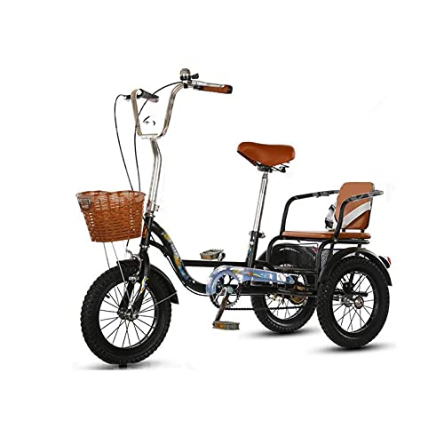 Triciclo para Adultos Bicicleta Three Wheel Cruiser Bike High Carbon Acero Marco 14in Adulto Bicicleta con Asiento Trasero Y Cesta De Compras para Personas Mayores, Mujeres, Hombres, Rojo