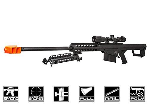 Lancer Tactical M107 Polymer Spring Sniper Rifle w Bipod Airsoft Gun