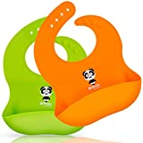 Silicone Baby Bibs Waterproof Adjustable Baby Bib with Food Catcher Pocket Set of 2 Colors Easily Wipe Clean (panda-Orange/Green)