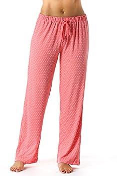 Just Love Women Pajama Pants - PJs - Sleepwear,Coral With White Dots,2X Plus