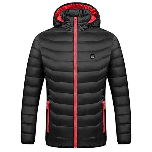 Beheizter Mantel für Damen, Mantel mit Kapuze, wärmend, aus Nylon, Winter, beheizbar, über USB, 3 Heizstufen, für Radfahren, im Freien, Angeln