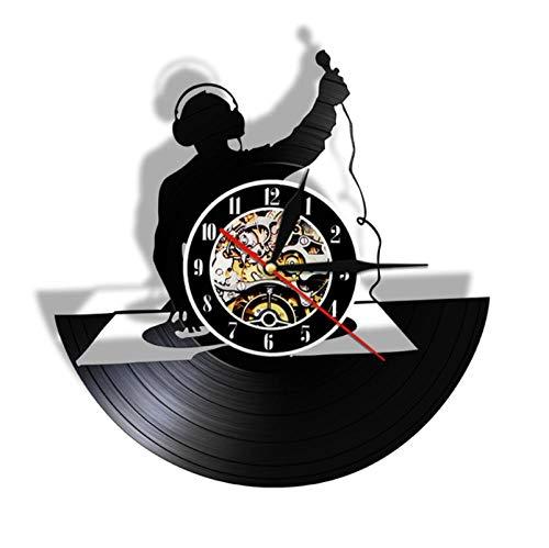 Liafa Plattenspieler Dj Custom Wall Art Wanduhr Dj Ihr Name Vinyl Record Wanduhr Personalisierte Name Clock Nachtclub Retro Wall Decor No Led