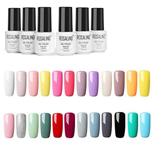 ROSALIND 24PCS/Set esmaltes semipermanente color rojo gel barniz UV LED duradero Esmalte de gel de uñas,7ml …