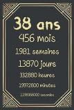 38 ans: Joyeux anniversaire 38 ans, cadeau anniversaire 38 ans homme femme maman papa, carnet 38 ans, 120 pages Ligné 15.24x22.86 cm