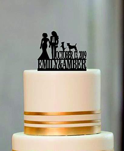 Dezelfde Sex Cake Topper, Lesbische Cake Topper, Mevrouw en Mevrouw Bruiloft Cake Topper, Bruid en Bruid Silhouette Paar Cake Topper met Kat of Hond