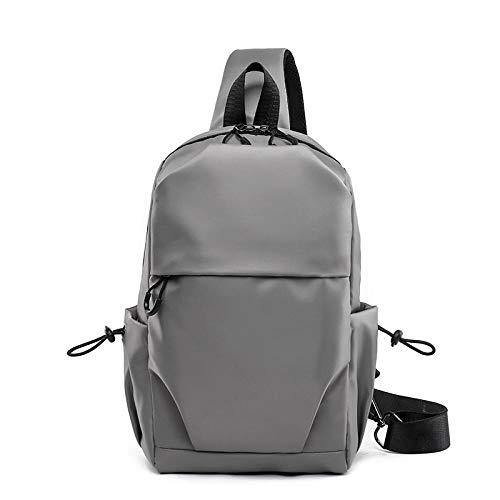 Men's shoulder bag sports canvas men's chest bag outdoor diagonal bag-light grey