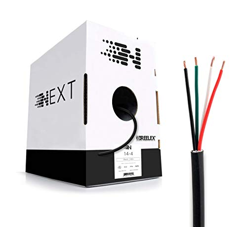 Next 14/4 Speaker Wire - 14 AWG/Gauge 4 Conductor - UL Listed in Wall (CL2/CL3) and Outdoor/In Ground (Direct Burial) Rated - Oxygen-Free Copper (OFC) - 500 Foot Bulk Cable Pull Box - Black
