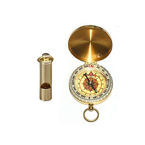 YUE Qin Navigation Kompass,Messing Kompass und Signalpfeife Outdoor Portable Kompass,für Camping Wandern Klettern Skifahren andere Outdoor