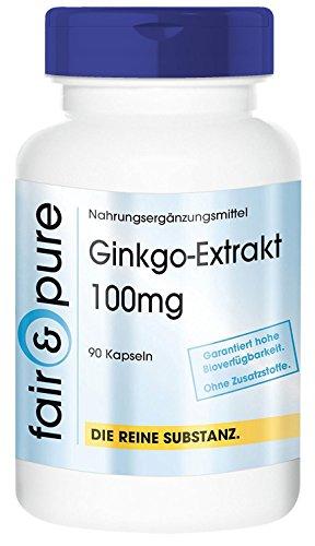 Ginkgo Kapseln - Ginkgo Biloba Extrakt 100mg (24% Flavone - mind. 6% Lactone) - vegan - 90 Kapseln