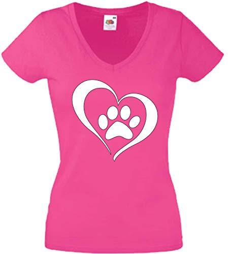 JINTORA Camiseta T-Shirt - Mujer Rosa - V-Cuello - XL - Corazón con la Pata del Perro - JDM/Die Cut - para Fiesta Carnaval Carnaval Laboral Deportes