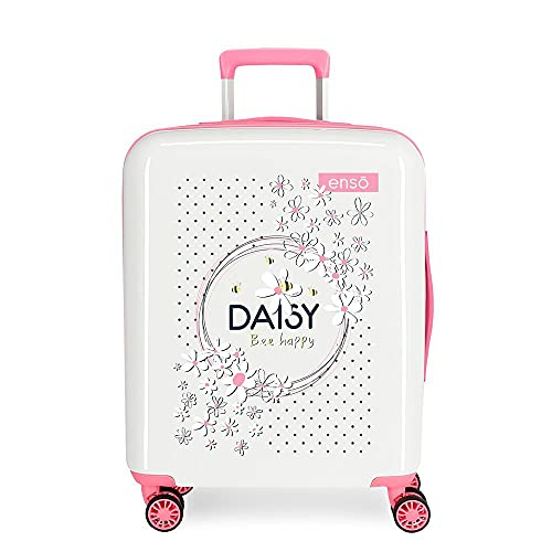 Enso Daisy Maleta de Cabina Blanco 40x55x20 cms Rígida ABS Cierre TSA Integrado 38,4 2 kgs 4 Ruedas Dobles Equipaje de Mano