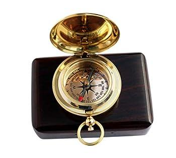 MAH Handmade Push Button Direction Pocket Brass Compass C-3191