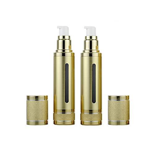 2PCS bouteilles de presse de pompe réutilisables de 30ml / 1oz avec la fenêtre ouvrante en plastique bouteille à vide transportant le récipient de stockage déchantillons pour lémulsion pour Madame