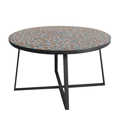 Mesa de Centro Mosaico para Exterior de cerámica y Hierro Multicolor de ø 80x44 cm - LOLAhome