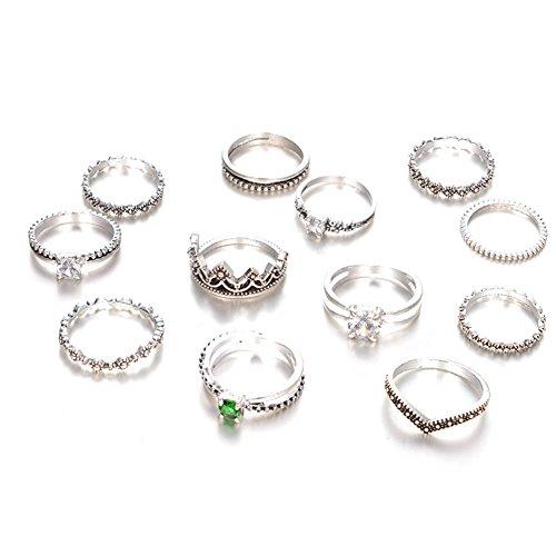 Oyfel Ringe, Mondstein, kostbar, Boheme, Dreieck, Fußphalangen, Set einfach, antik, 12-teilig