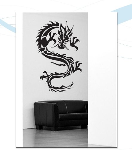 INDIGOS WG10007-70 Wandtattoo W007 Drachen China Japan Monster 80 x 52, schwarz