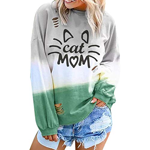 TWGONE Cat Mom Shirt for Women Gradient Color Long Sleeve O-Neck Letter Printed Casual Tops(Small,Green-2)