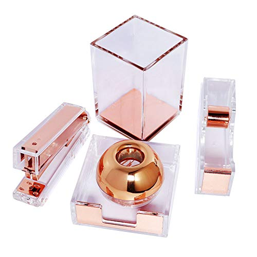 Acrylic Marble Desktop Organizer Set Stapler with Staples, Pencil Holder, Tape Dispenser, Memo Holder, Magnetic Paperclip Holder with Paper Clips Office Supplies for Women Girls (Acrylic Rose Gold)