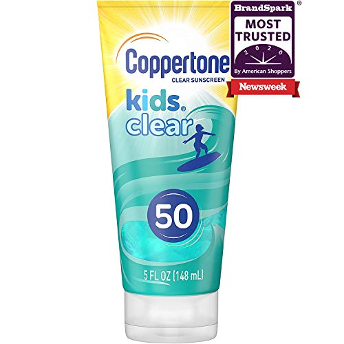 Coppertone Kids Clear Blue SPF 50 Sunscreen Lotion, Water Resistant, Non-Greasy, Broad Spectrum UVA/UVB Protection, Clean, Cool, Berry, 5 Fluid Ounces (041100586377)