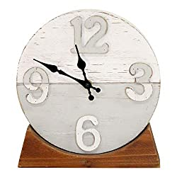 Motley Lane - Derrick Two Tone Wood Table clock - Uniquely Hand Crafted and