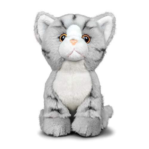 Animigos Plüschtier Katze grau tabby, Stofftier im realistischen Design, kuschelig weich, ca. 19 cm groß