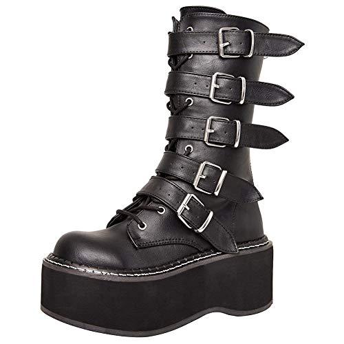 cynllio - Botas de combate para mujer con hebilla múltiple ancha mediados de pantorrilla punk botas cuñas botas de motocicleta, color Negro, talla 37 EU