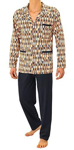 Sesto Senso® Pigiama Uomo Abbottonata 100% Cotone Lungo Set Pigiami Bottoni Classici Due Pezzi Lingerie Maniche Lunghe Pantaloni Lunghi (L, 03 Granat)