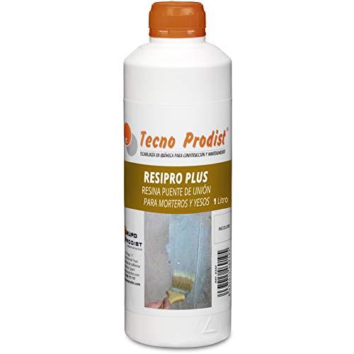 RESINA PUENTE DE UNIÓN de Tecno Prodist - (1 Litro) Adhesivo al agua, adherencia hormigones y morteros viejos con nuevos - Escayolas - Cementos - Para yesos en cornisas y techos. Buena Calidad, Blanco