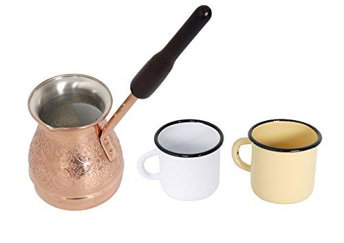 Cafetera de Cobre Turka 400 ml con dos Tazas de Metal Esmaltado 250 ml - Ideal en Casa o Camping - Rusia