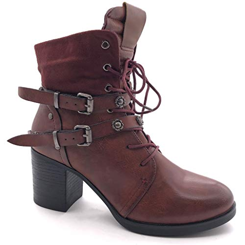 Angkorly - Damen Schuhe Stiefeletten - Combat Boots - Biker - bi-Material - Spitze - String Tanga - Nieten-Besetzt Blockabsatz high Heel 7 cm - Burgunderrot F3009 T 40