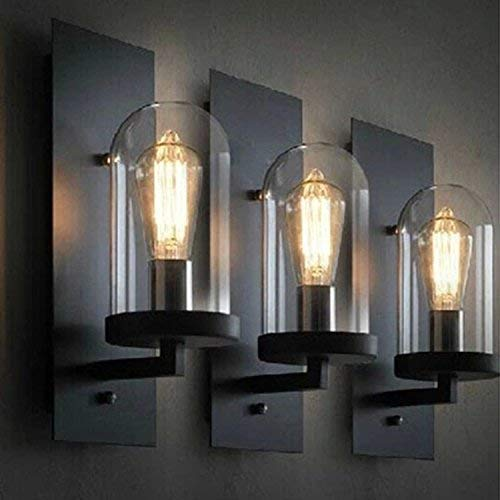 Mkj Lámpara de pared con espejo delantero, diseño minimalista, para dormitorio, sala de estar, pasillo, hotel, pasillo, lámpara de pared retro de hierro forjado