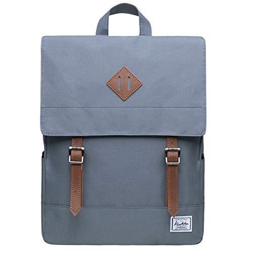 KAUKKO Rucksack Damen Herren Business Rucksäcke mit Laptopfach - Vintage Mädchen Daypack für Uni & Alltag 14.9 Liters Grau