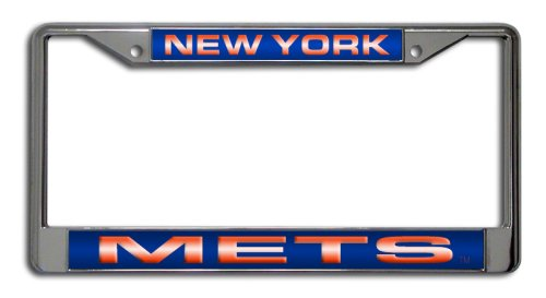 Rico Industries FCL5801 MLB New York Mets Laser-Cut Chrome Auto License Plate Frame