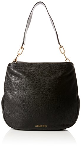 Black Pebbled Leather Gold Tone Hardware Top Zip Fastening Shoulder Strap