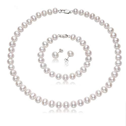 Elegante e classico set di gioielli con perle d'acqua dolce da 7 mm, con chiusura in argento Sterling. e Argento, colore: bianco, cod. TBPSETBLK