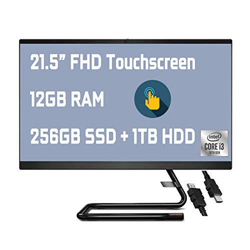 """2021 Flagship Lenovo IdeaCentre AIO 3 All in one Desktop 21.5"""" FHD IPS Touchscreen 10th Gen Intel Core i3-1005G1(Beat i5-8250Y) 12GB RAM 256GB SSD + 1TB HDD Wifi6 DVD-RW Win10 + iCarp HDMI Cable"""