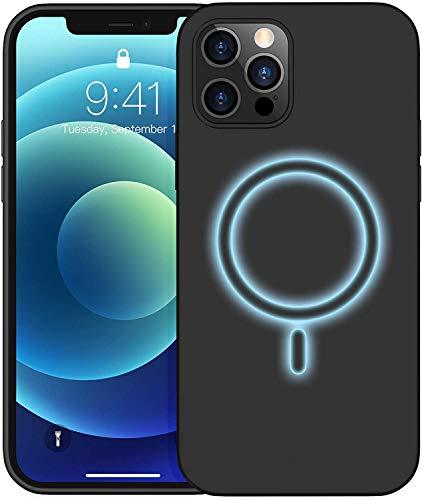 Temdan Kompatibel mit Magsafe, für iPhone 12 Hülle, für iPhone 12 Pro Hülle, mit Integrierten Magneten Liquid Silikon Hülle- 6.1 Zoll (Schwarz)