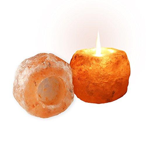 SALT GEMS 2 Pack Himalayan Rock Salt Candle Holder Pink Salt