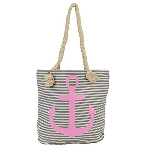 Sonia Originelli Shopper Strandtasche Kordel Seil Streifen Anker Anchor Maritim T021-AN-RV (Grau-rosa)
