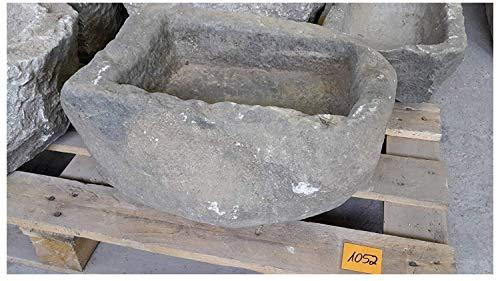 Der Naturstein Garten Alter Trog aus Granit 43 cm lang Brunnen Steintrog - G1052 Granittrog Waschbecken